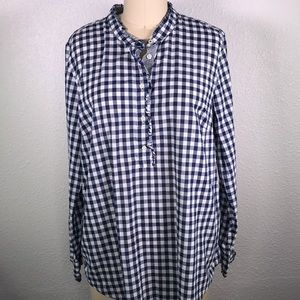 Talbots Gingham Ruffle Popover Shirt